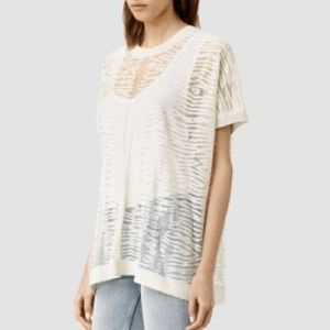 All Saints Shor Knit Tee in Glacier Off White
